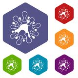 AIDS virus icons set Royalty Free Stock Photo