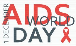 Aids world day concept from words. Aids Awareness Red Ribbon. Concept from words. Vector Illustration Stock Image