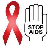 Aids-Zeichen-Rot-Band Lizenzfreie Stockfotos