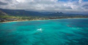 Aieial sikt av den Waimanalo stranden Oahu Fotografering för Bildbyråer