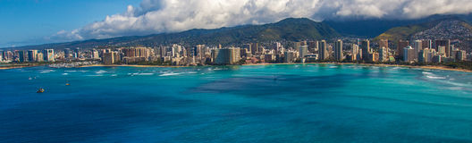 Aieial sikt av Waikiki Hawaii Royaltyfri Foto