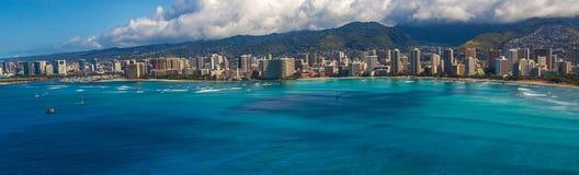 Aerial View of Waikiki Hawaii Royalty Free Stock Photo