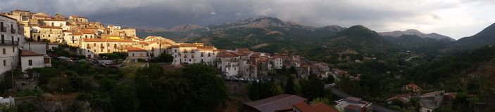 Aieta a little city of Calabria in italy. Sunset on aieta a little city of Calabria royalty free stock images