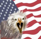 Aigle américain sur le fond de drapeau américain illustration de vecteur