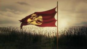 Aigle bizantin du drapeau de ondulation oriental de Roman Byzantine Empire et armée illustration de vecteur