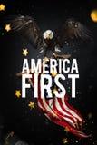 Aigle chauve avec l'indicateur américain Photos libres de droits