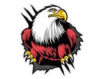 aigle chauve de mascotte de papier déchirée de bande dessinée peut employer pour le logo de sport illustration stock