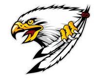 aigle chauve fâché tenant la mascotte de bande dessinée de plumes peut employer pour le logo de sport illustration stock