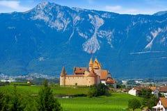 Aigle in Alps at Switzerland Swiss. Aigle city and castle in Alps at Switzerland Swiss Royalty Free Stock Photos