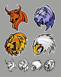 Aigle de lion d'ours de Bull de logos de mascotte d'école Photo stock