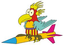 Aigle drôle sur la fusée illustration de vecteur