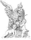 Aigle royal et deux bébés Image stock