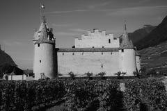 Aigle-Schloss im Monochrom Stockfotografie