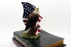 Aigle sur deux bibles Images stock