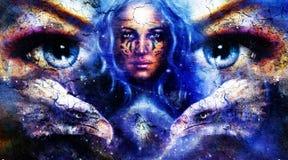 Aigles et tigre de peinture avec des yeux de femme sur des étoiles de l'espace Image libre de droits