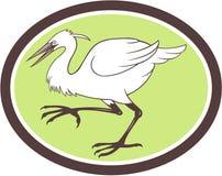 Aigrettereiger Crane Walking Cartoon Royalty-vrije Stock Afbeelding