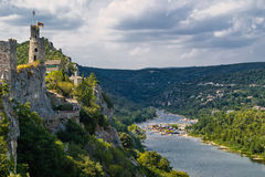 Aiguèze Alongside canyon of Ardeche river in France. Stock Photo