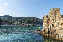 Aiguablava beach in Costa Brava, Catalonia, Spain. Aiguablava beach with its crystal clear water in Costa Brava, Catalonia, Spain Stock Photography