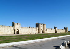 Aigues Mortes. The part of the fortifications built to protect Crusaders and salt which was extremely precious during middle-ages. South of France, Languedoc Royalty Free Stock Image