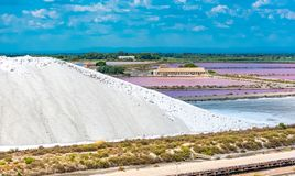 Aigues-Mortes. Salins du Midi, panorama with salt marshes stock images