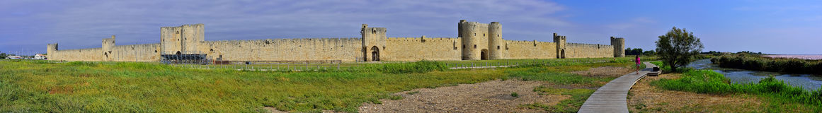 Aigues Mortes Castle. Panoramic view of Aigues Mortes, a fortified city in provence. France Stock Photography