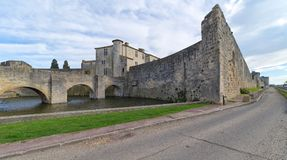 Aigues Mortes city - Bridge, Walls and Tower of Constance - Camargue - France. View of Aigues Mortes city - Bridge, Walls and Tower of Constance - Camargue Stock Photo