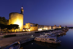 Aigues-Mortes at dusk, France Stock Images