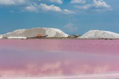 Salt marshes. Aigues-Mortes in France, Salins du Midi, panorama with salt marshes stock photos