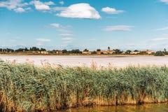 Aigues-Mortes, Salins du Midi, красочный ландшафт с солеными болотами стоковые изображения rf