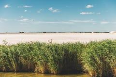 Aigues-Mortes, Salins du Midi. Colorful landscape with salt marshes Stock Photography