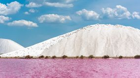 Aigues-Mortes. Salins du Midi, panorama with salt marshes royalty free stock photography