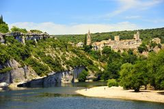 Aigueze on the Ardeche, France Stock Photography