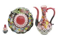 Aiguière en céramique, çini La Turquie, ibrik de Narin Kutahya Photographie stock