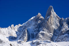 aiguille du dru famous peack of europen alps Royalty Free Stock Images