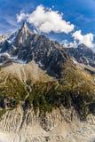 Aiguille du Dru And Mer De Glace-Chamonix, France images stock