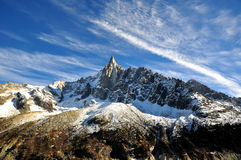 Aiguille du Dru in the Montblanc massif, French Alps Stock Image