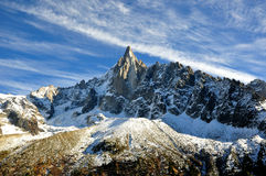 Aiguille du Dru nel massiccio di Montblanc, alpi francesi Immagini Stock Libere da Diritti