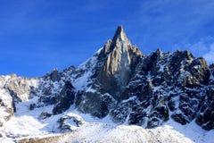Aiguille du Dru nel massiccio di Montblanc, alpi francesi Fotografia Stock Libera da Diritti