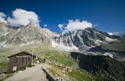 Aiguille du Midi. Wooden house at the cable car station to Aiguille du Midi peak, Chamonix, France Stock Photography