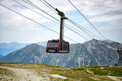 The Aiguille du Midi cable car. Chamonix, France - JULY 19, 2017: The Aiguille du Midi cable car Royalty Free Stock Photography