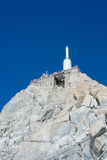 Aiguille du Midi. CHAMONIX, FRANCE - SEPTEMBER 02: Low angle shot of Aiguille du Midi complex. At 3842 meters, the complex offers close views of the Mont Blanc Royalty Free Stock Images