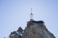 Aiguille du Midi. CHAMONIX, FRANCE - SEPTEMBER 02: Low angle shot of Aiguille du Midi complex. At 3842 meters, the complex offers close views of the Mont Blanc Royalty Free Stock Image