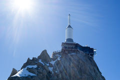 Aiguille du Midi. CHAMONIX, FRANCE - SEPTEMBER 02: Low angle shot of Aiguille du Midi complex. At 3842 meters, the complex offers close views of the Mont Blanc Royalty Free Stock Photography