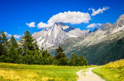 Aiguille du Midi, Chamonix, Mont Blanc in France. Mont Blanc, France. Summer scennery with amazing Aiguille du Midi conic mountain in Chamonix Haute-Savoie Stock Photos