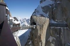 Aiguille du Midi di punta, CHAMONIX-MONT-BLANC, Francia Altitudine: 3842 metri Immagini Stock