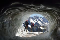 Ice tunnel near Aiguille du Midi stock photography