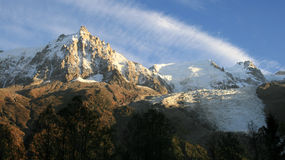 Aiguille du Midi and glacier of Bossons Stock Photos