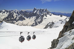 Aiguille du Midi gondola in French Alps Stock Photos