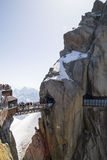 Aiguille du Midi,3842m, Mont Blanc Massif, France . Royalty Free Stock Photography