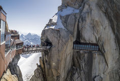 Aiguille du Midi, 3842m, Mont Blanc Massif, Frankrijk stock foto's